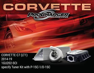 Picture of 1GU202-SCI - 2014-19 CORVETTE C7 STINGRAY (LT1) & 2017-18 GRAND SPORT (LT1) High Output Intercooled Tuner Kit w/P-1SC-1 (satin finish)