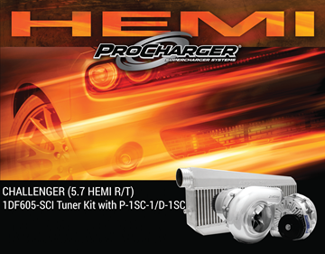 Picture of 1DF605-SCI - 2015-19 DODGE CHALLENGER HEMI (5.7) High Output Intercooled Tuner Kit w/P-1SC-1