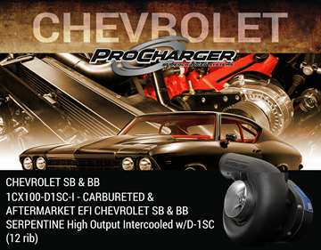 Picture of 1CX100-D1SC-I - CARBURETED & AFTERMARKET EFI CHEVROLET SB & BB SERPENTINE High Output Intercooled w/D-1SC (12 rib)