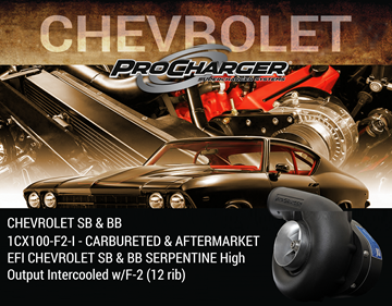 Picture of 1CX100-F2-I - CARBURETED & AFTERMARKET EFI CHEVROLET SB & BB SERPENTINE High Output Intercooled w/F-2 (12 rib)