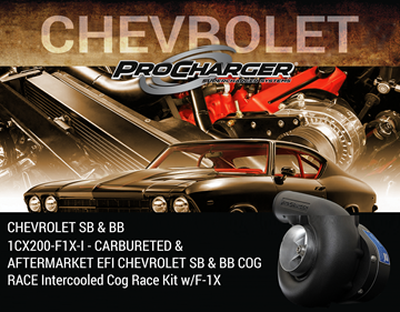 Picture of 1CX200-F1X-I - CARBURETED & AFTERMARKET EFI CHEVROLET SB & BB COG RACE Intercooled Cog Race Kit w/F-1X