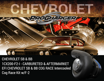 Picture of 1CX200-F2-I - CARBURETED & AFTERMARKET EFI CHEVROLET SB & BB COG RACE Intercooled Cog Race Kit w/F-2