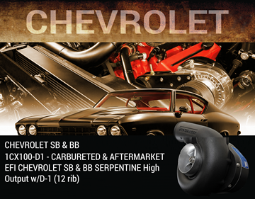 Picture of 1CX100-D1 - CARBURETED & AFTERMARKET EFI CHEVROLET SB & BB SERPENTINE High Output w/D-1 (12 rib)