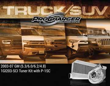 Picture of 1GI203-SCI - 2003-07 GM TRUCK/SUV (5.3, 6.0, 4.8) High Output Intercooled Tuner Kit w/P-1SC