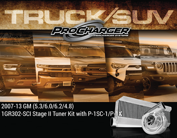 Picture of 1GR302-SCI - 2007-13 GM TRUCK / SUV 1500 (4.8, 5.3, 6.0, 6.2) Stage II Intercooled Tuner Kit w/P-1SC-1 (dedicated drive)